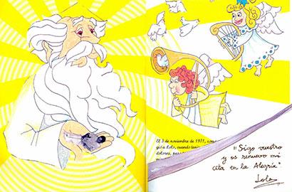 Ilustración del beato Lolo en su encuentro con el Padre, por Blanca Aguilar